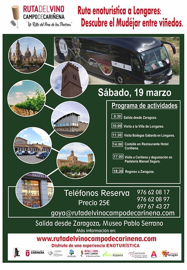 El Bus del Vino de la Ruta del Campo de Cariñena, la Ruta del Vino de las Piedras,  hará su próxima salida el 19 de marzo.