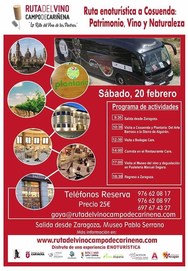 El Bus del Vino de la Ruta del Campo de Cariñena, la Ruta del Vino de las Piedras, saldrá de nuevo el 20 de febrero.