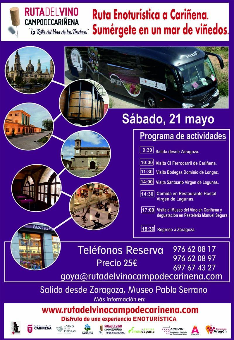 El Bus del Vino de la Ruta del Campo de Cariñena, la Ruta del Vino de las Piedras,  hará su próxima salida el 21 de mayo.