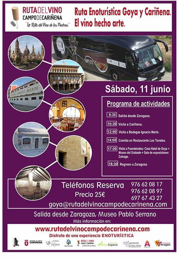 El Bus del Vino de la Ruta del Campo de Cariñena, la Ruta del Vino de las Piedras,  hará su próxima salida el 11 de junio.