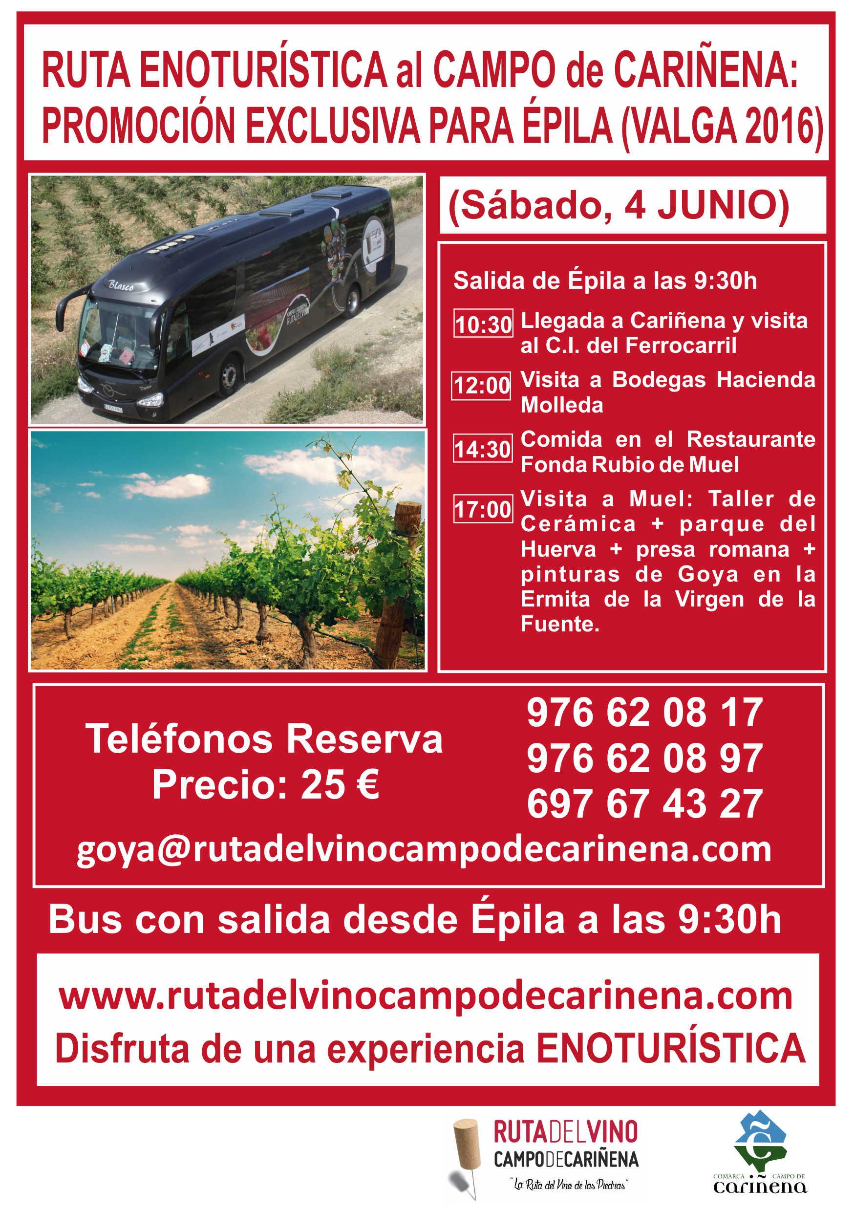 Ruta Enoturística al Campo de Cariñena: Promoción exclusiva para Épila (VALGA 2016)