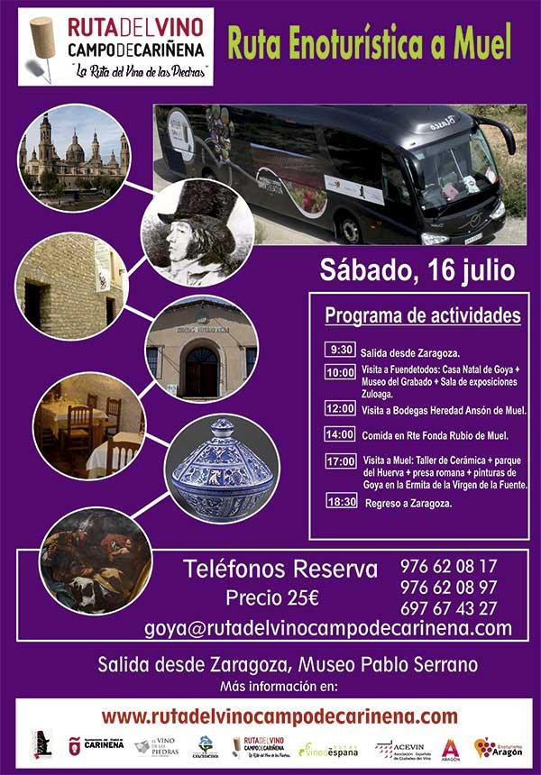 El Bus del Vino de la Ruta del Campo de Cariñena, la Ruta del Vino de las Piedras, hará su próxima salida el 16 de julio.
