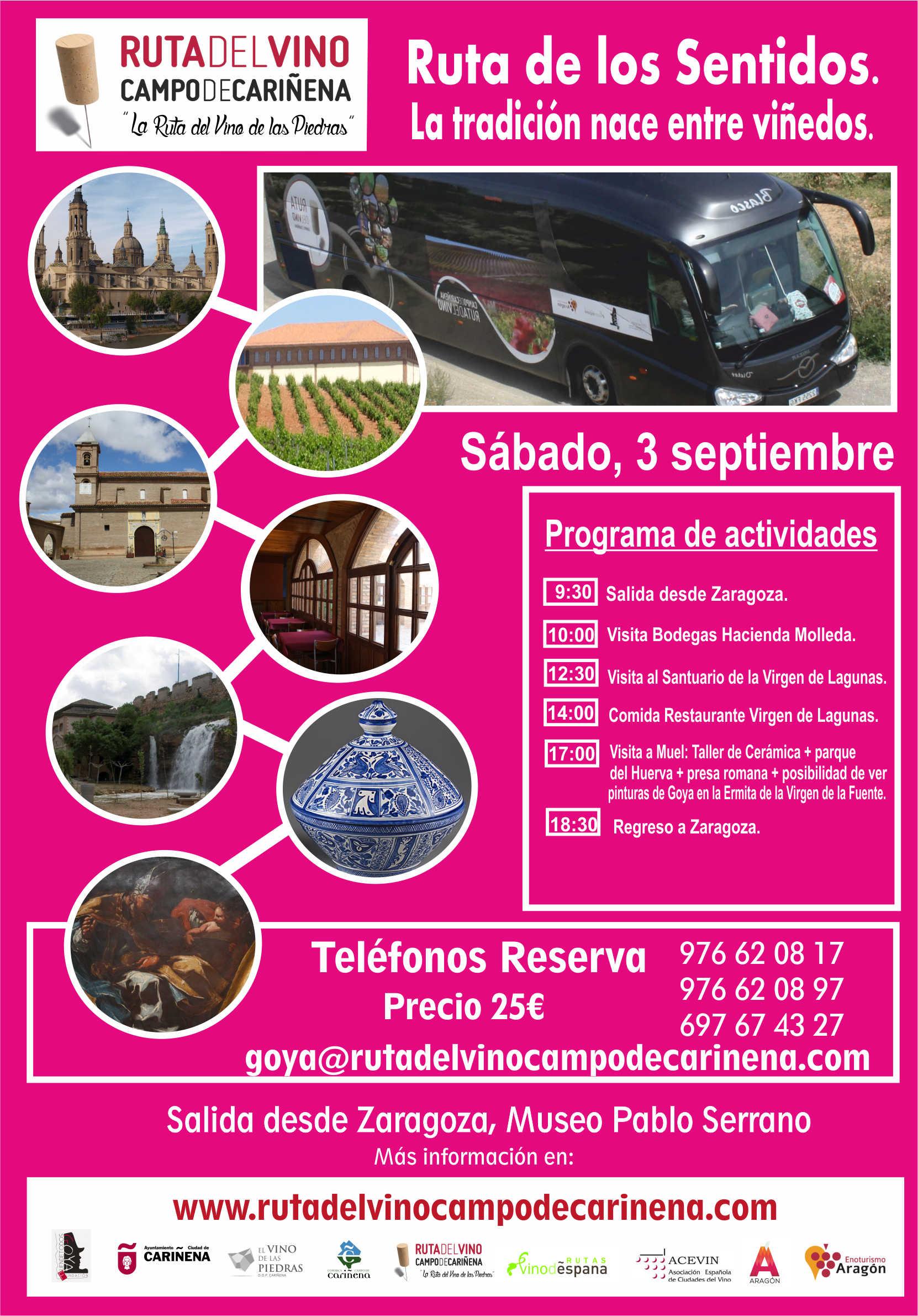El Bus del Vino de la Ruta del Campo de Cariñena, la Ruta del Vino de las Piedras, hará su próxima salida el 3 de septiembre.