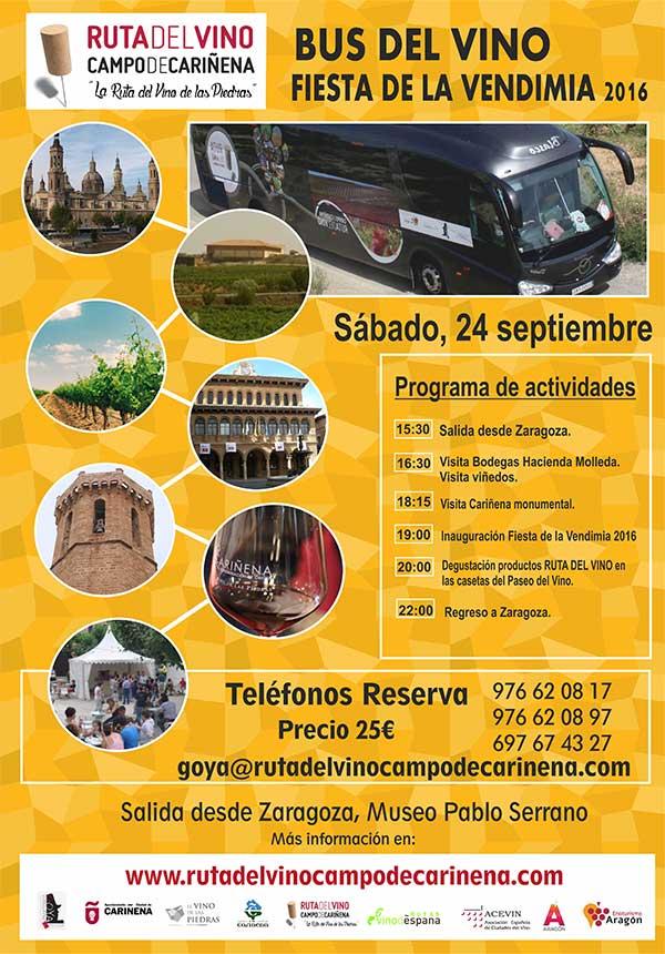 El Bus del Vino de la Ruta del Campo de Cariñena, la Ruta del Vino de las Piedras, hará su próxima para la fiesta de la vendimia el 24 de septiembre.