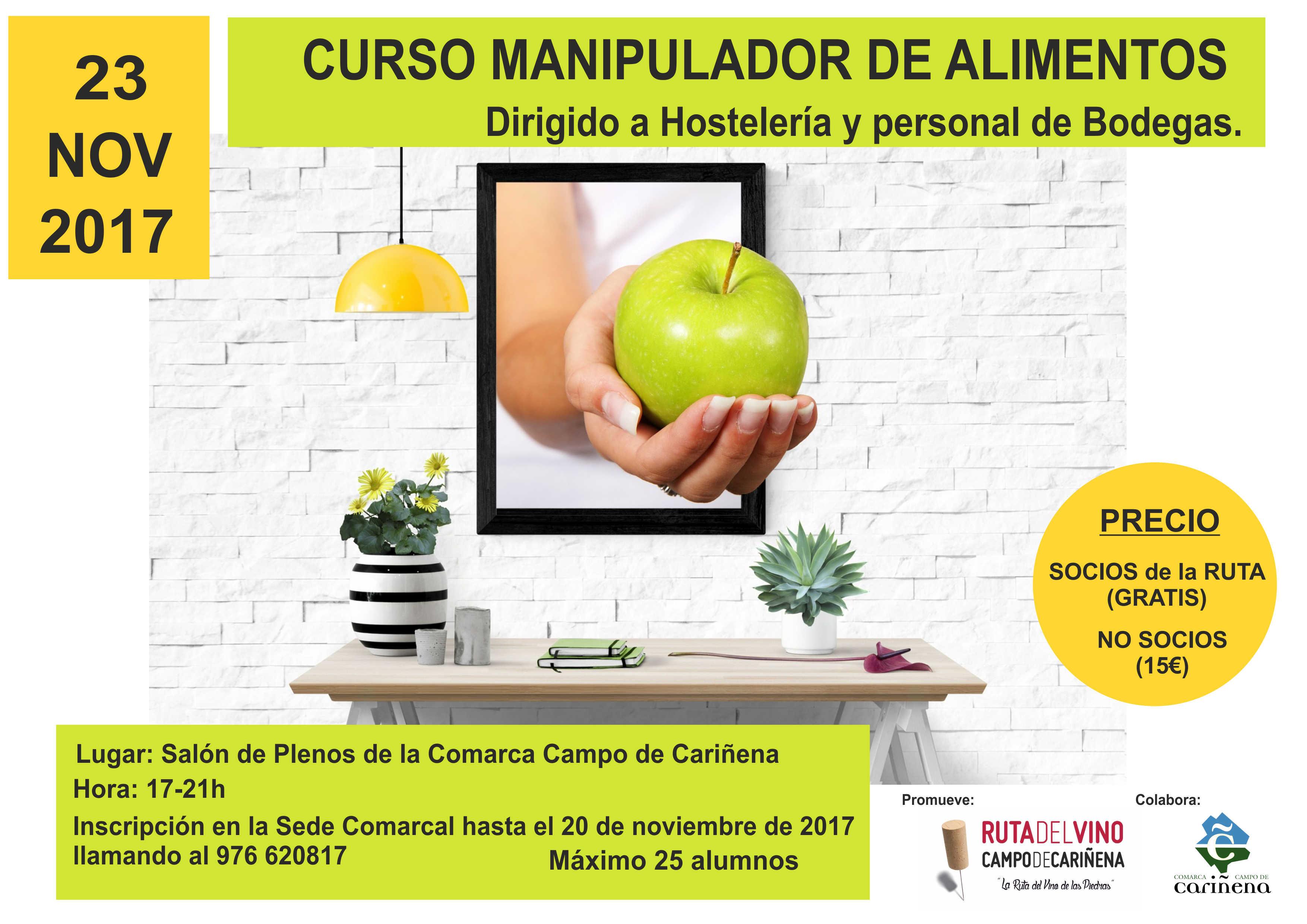 La Ruta del Vino en colaboración con la Comarca promueve el Curso de Manipulador de Alimentos dirigido a Hostelería y Personal de Bodegas.